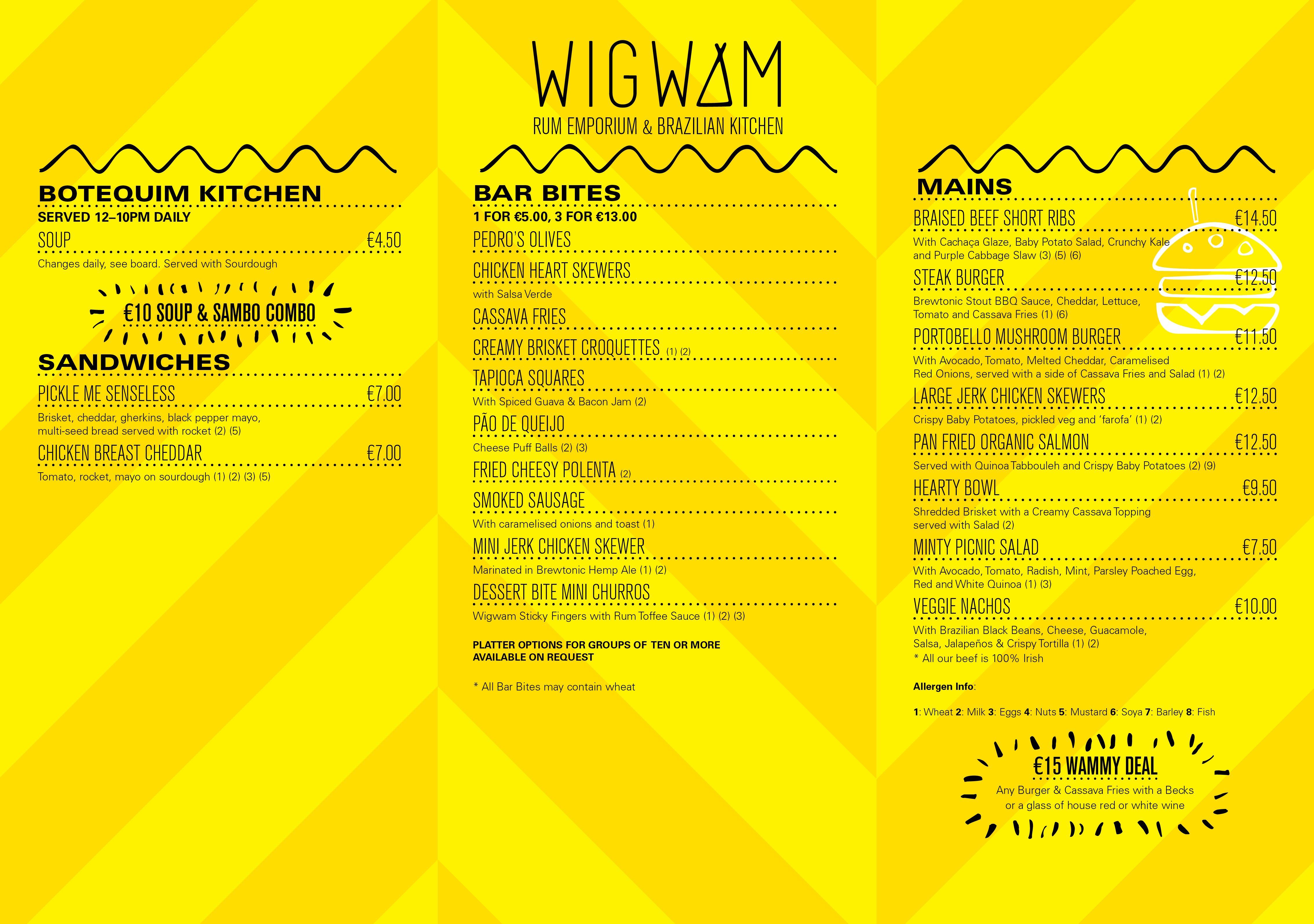 Wigwam Menu February 2017