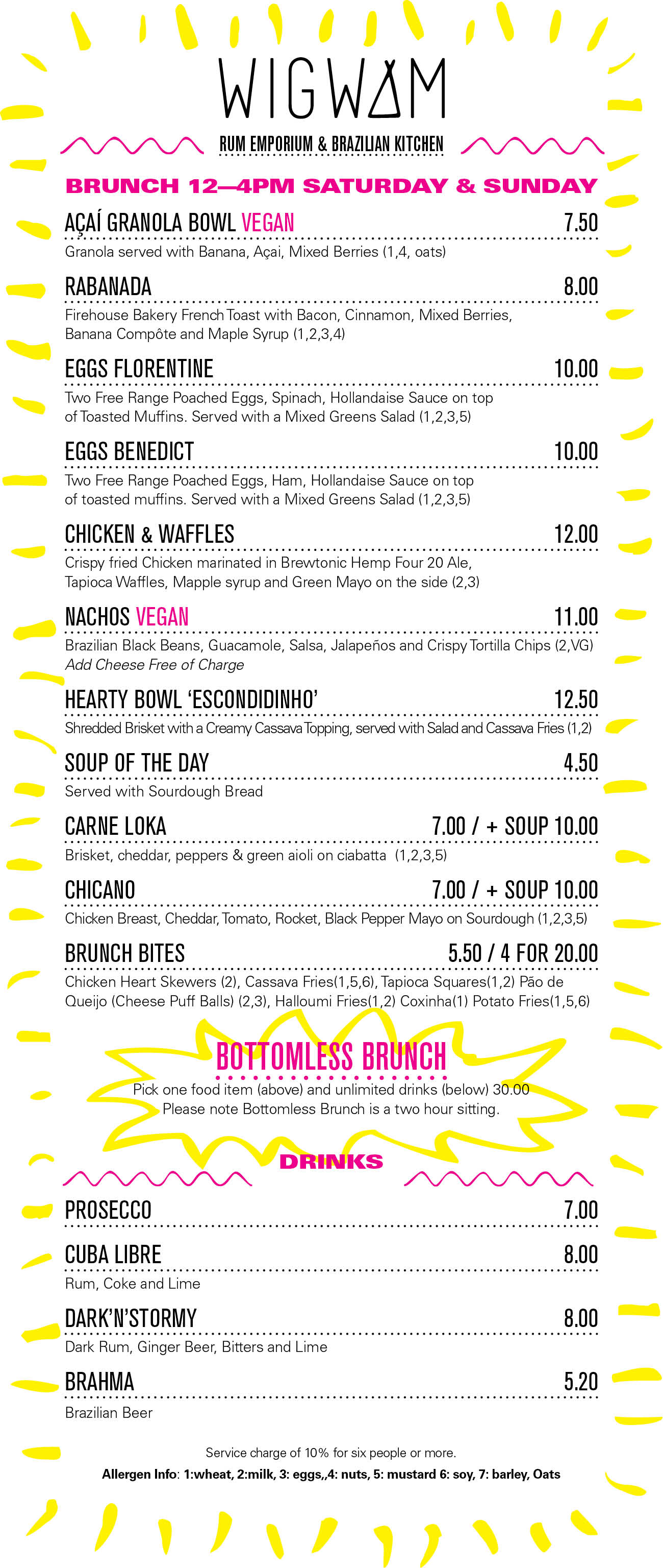 Wigwam Bottomless Brunch Menu
